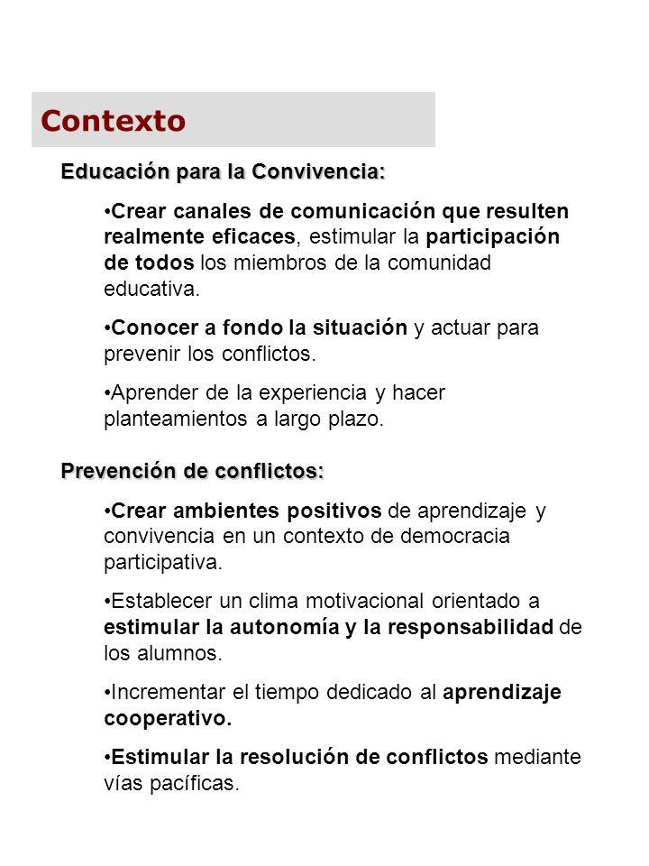 Contexto Educación para la Convivencia:
