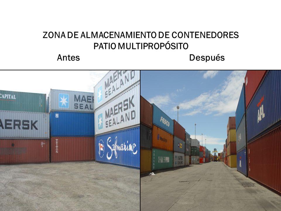 ZONA DE ALMACENAMIENTO DE CONTENEDORES PATIO MULTIPROPÓSITO Antes Después
