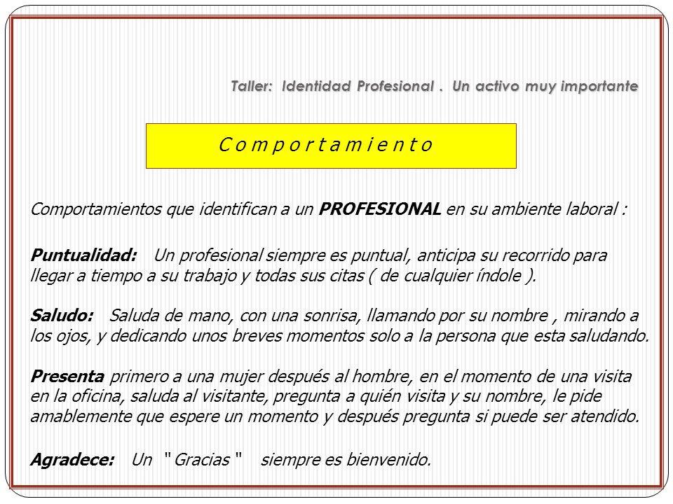 Taller: Identidad Profesional . Un activo muy importante