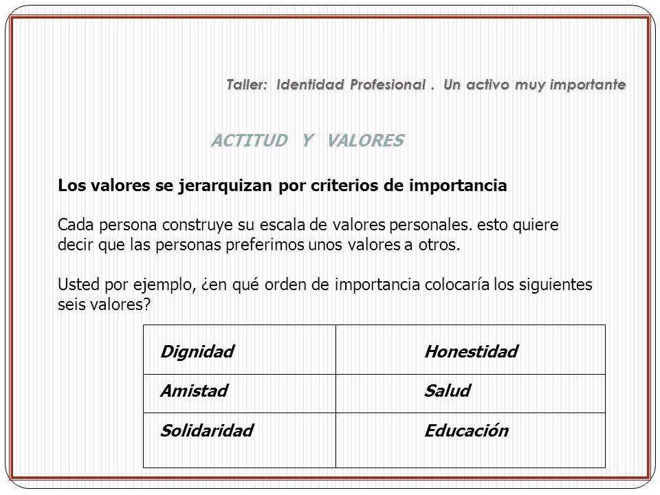 Los valores se jerarquizan por criterios de importancia