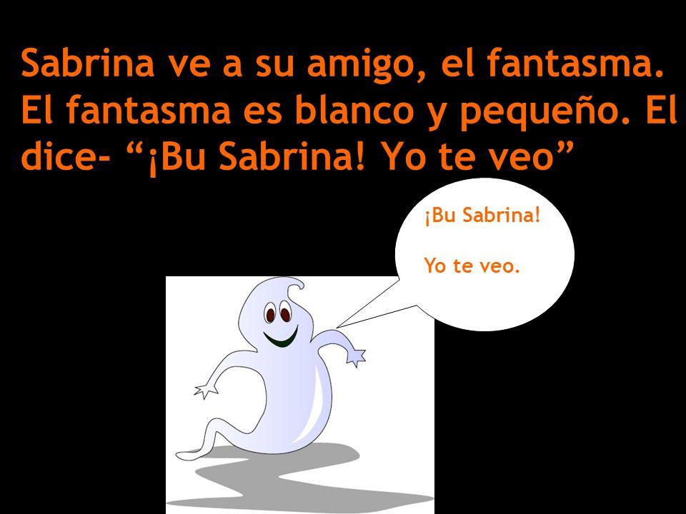Sabrina ve a su amigo, el fantasma. El fantasma es blanco y pequeño