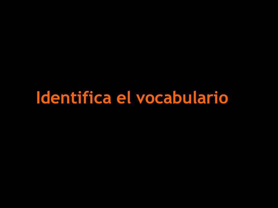 Identifica el vocabulario