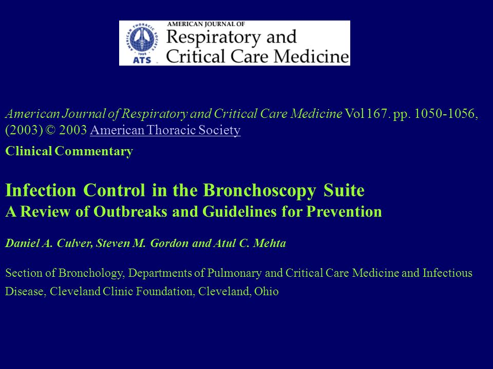 Infection Control in the Bronchoscopy Suite
