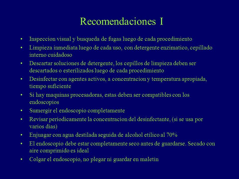 Recomendaciones I Inspeccion visual y busqueda de fugas luego de cada procedimiento.