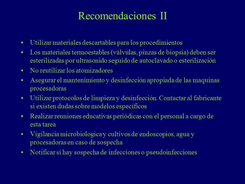 Recomendaciones II Utilizar materiales descartables para los procedimientos.