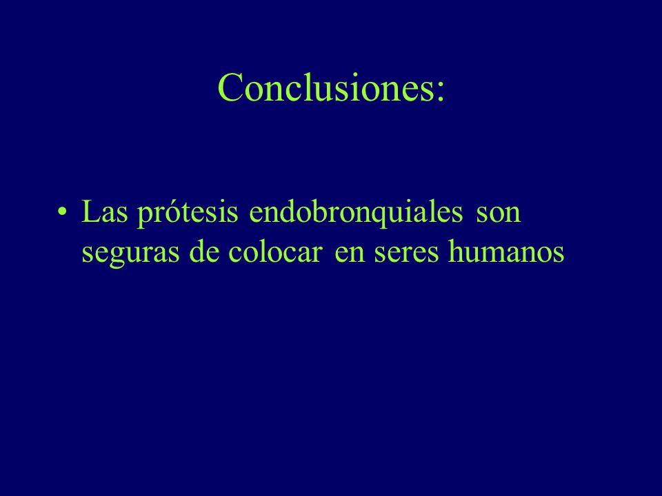 Conclusiones: Las prótesis endobronquiales son seguras de colocar en seres humanos