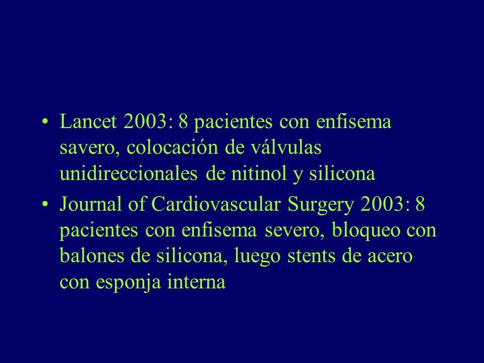 Lancet 2003: 8 pacientes con enfisema savero, colocación de válvulas unidireccionales de nitinol y silicona