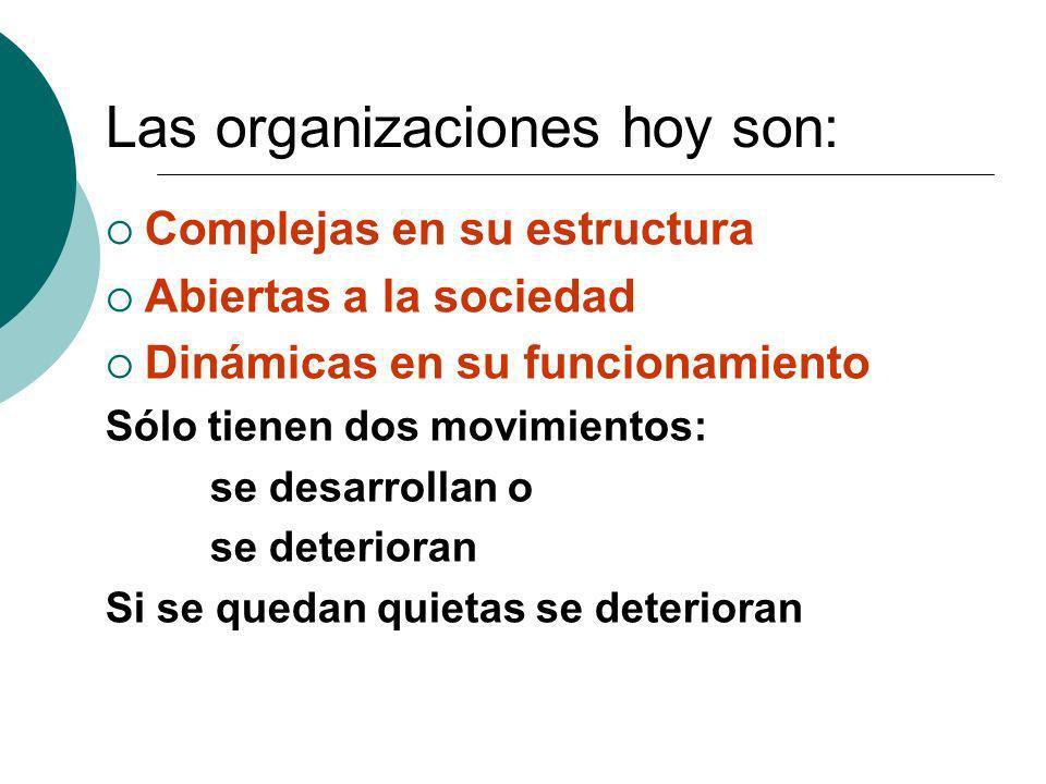 Las organizaciones hoy son:
