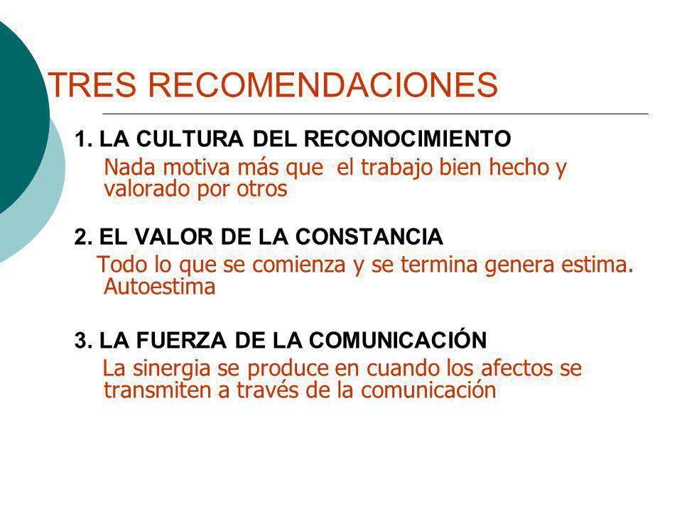 TRES RECOMENDACIONES 1. LA CULTURA DEL RECONOCIMIENTO