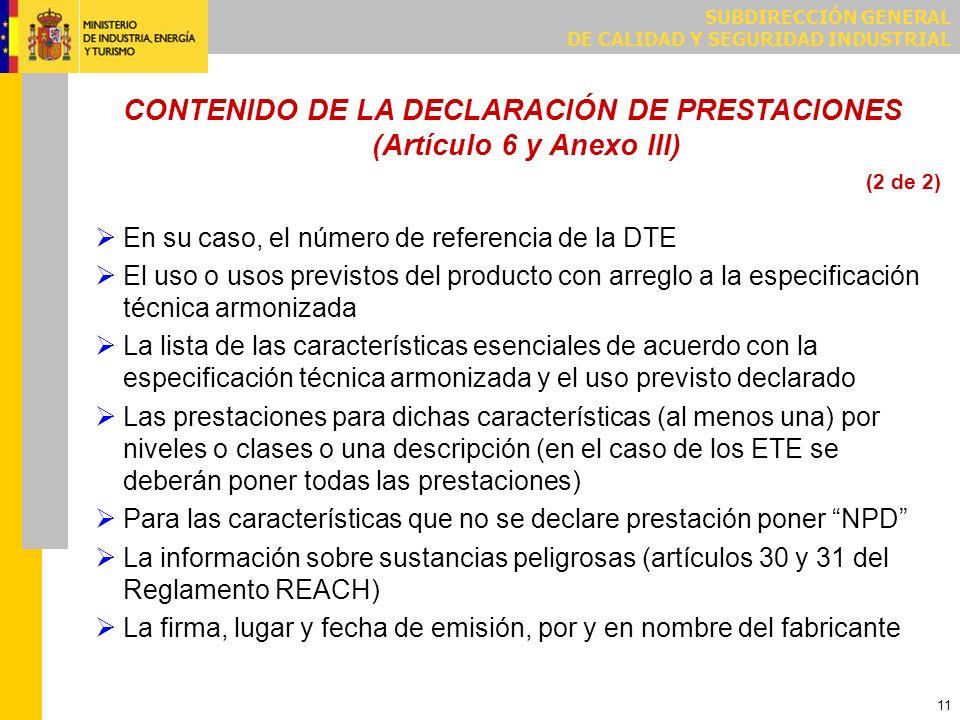 Ejemplo Declaración de Prestaciones/RPC Ejemplo Declaración CE/DPC