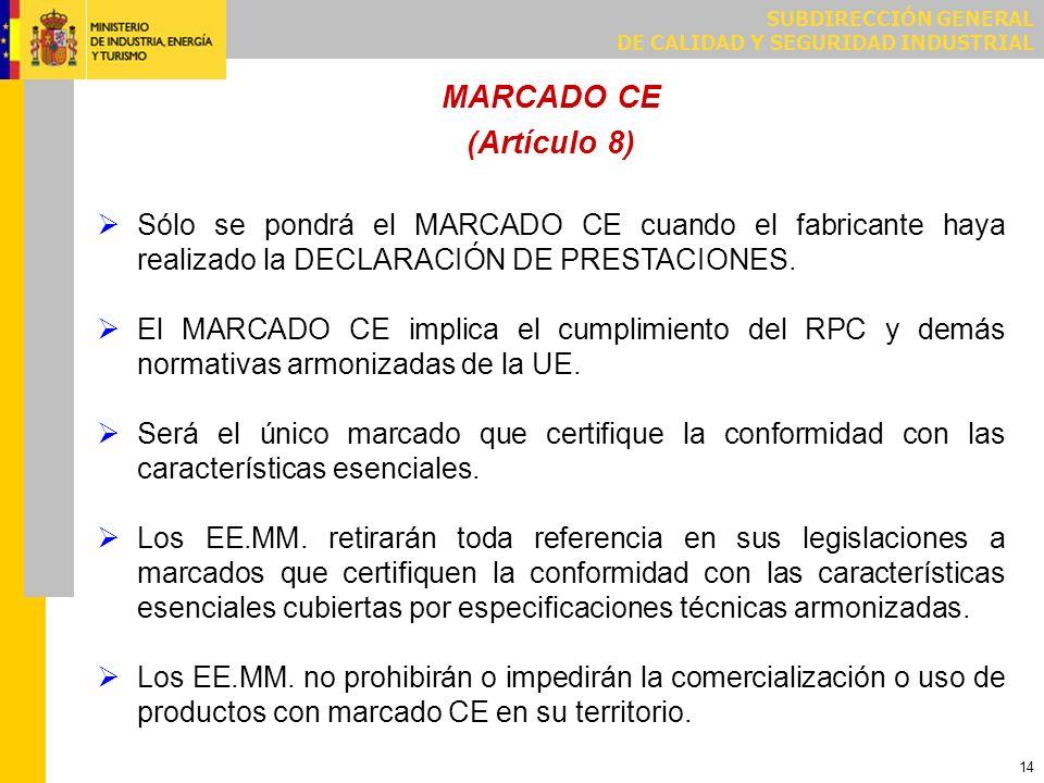 MARCADO CE (Artículo 9) CONTENIDO COLOCACIÓN Logotipo CE