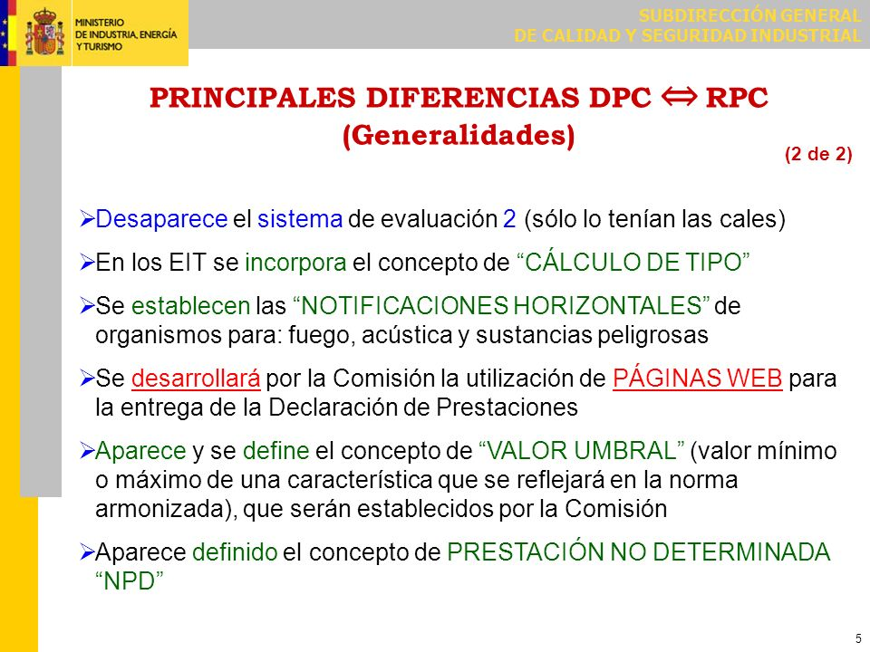PRINCIPALES DIFERENCIAS DPC ⇔ RPC (Para los FABRICANTES) (DOCUMENTACIÓN)
