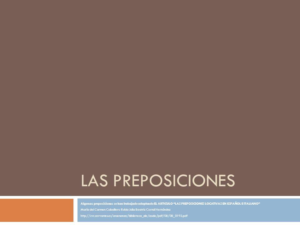 LAS PREPOSICIONES Algunas preposiciones se han trabajado adaptando EL ARTICULO LAS PREPOSICIONES LOCATIVAS EN ESPAÑOL E ITALIANO