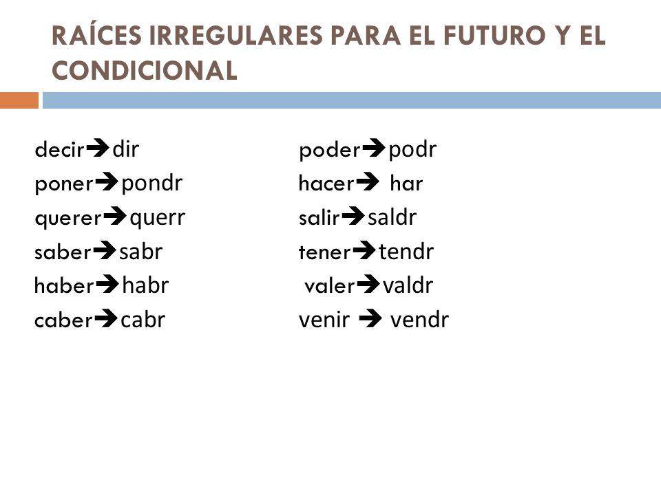 RAÍCES IRREGULARES PARA EL FUTURO Y EL CONDICIONAL