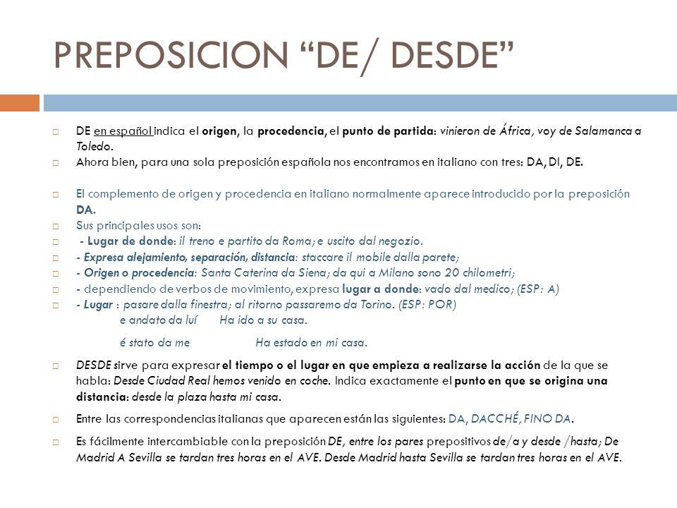 PREPOSICION DE/ DESDE