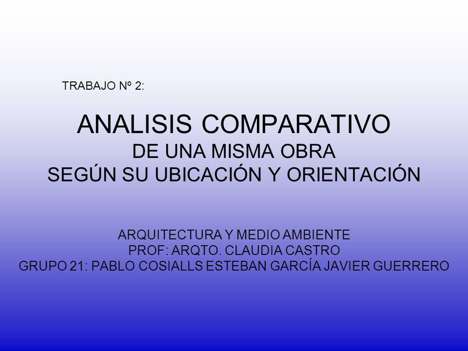 TRABAJO Nº 2: ANALISIS COMPARATIVO DE UNA MISMA OBRA SEGÚN SU UBICACIÓN Y ORIENTACIÓN. ARQUITECTURA Y MEDIO AMBIENTE.