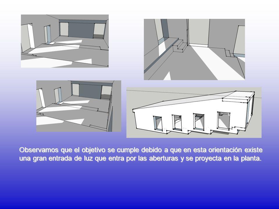 Observamos que el objetivo se cumple debido a que en esta orientación existe una gran entrada de luz que entra por las aberturas y se proyecta en la planta.