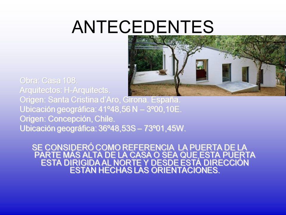 ANTECEDENTES Obra: Casa 108. Arquitectos: H-Arquitects.