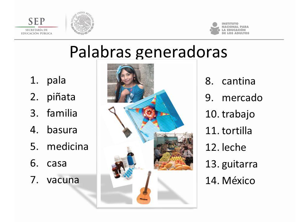 Palabras generadoras pala cantina piñata mercado familia trabajo
