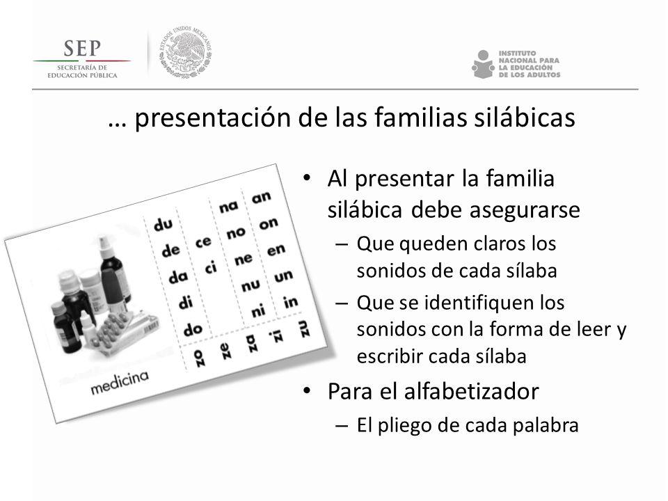 … presentación de las familias silábicas