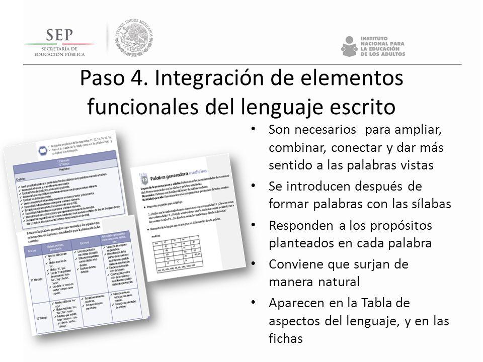 Paso 4. Integración de elementos funcionales del lenguaje escrito