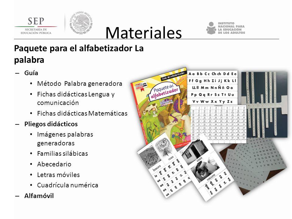 Materiales Paquete para el alfabetizador La palabra Guía