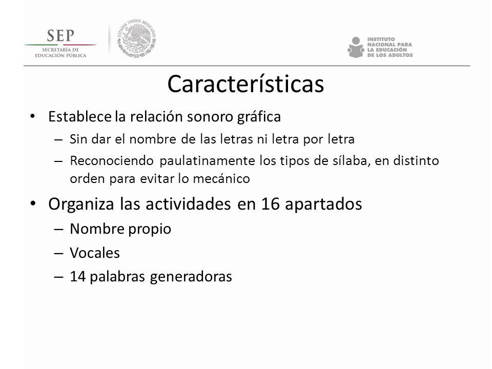 Características Organiza las actividades en 16 apartados