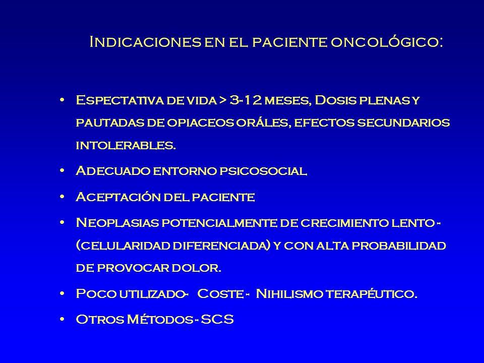 Indicaciones en el paciente oncológico: