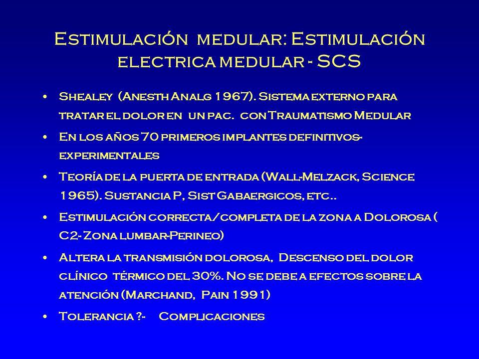 Estimulación medular: Estimulación electrica medular - SCS