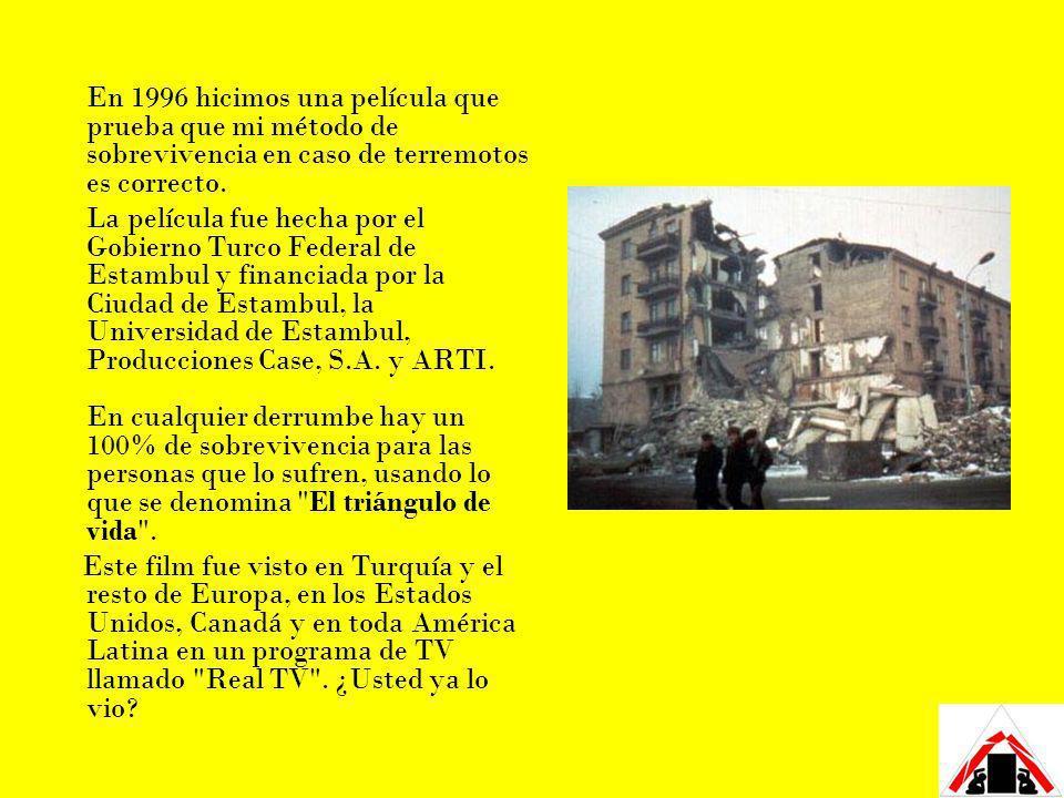 En 1996 hicimos una película que prueba que mi método de sobrevivencia en caso de terremotos es correcto.
