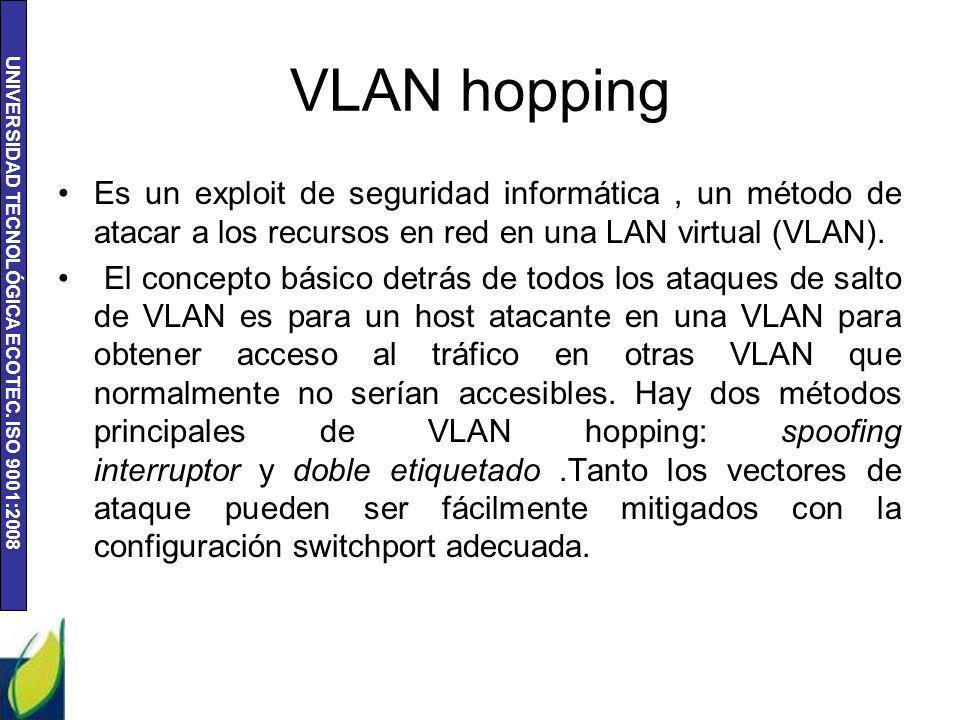 VLAN hopping Es un exploit de seguridad informática , un método de atacar a los recursos en red en una LAN virtual (VLAN).
