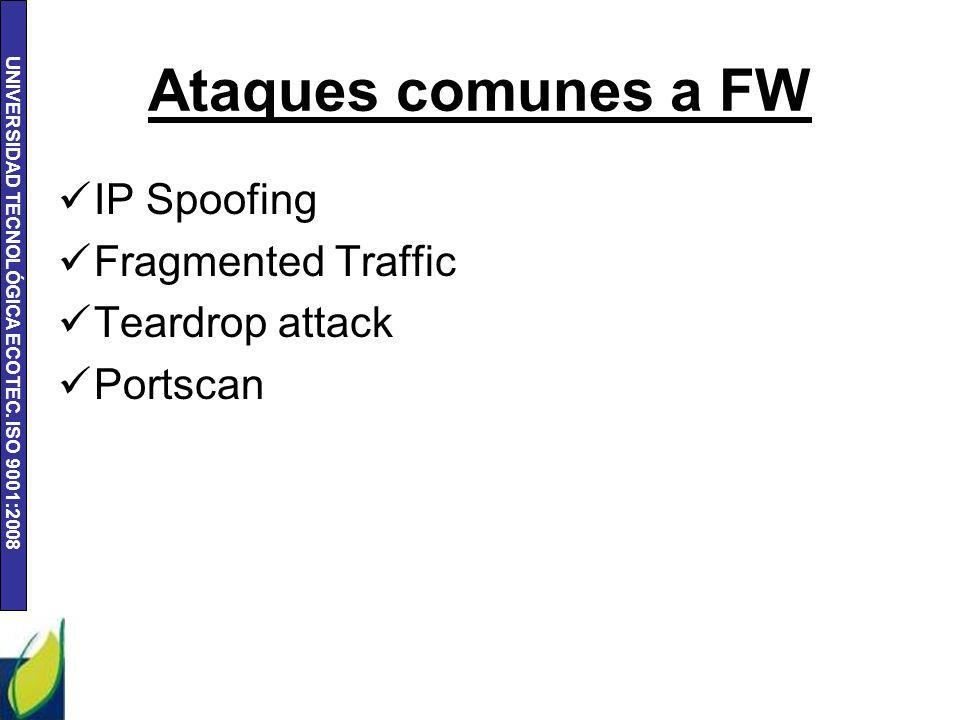 Ataques comunes a FW IP Spoofing Fragmented Traffic Teardrop attack