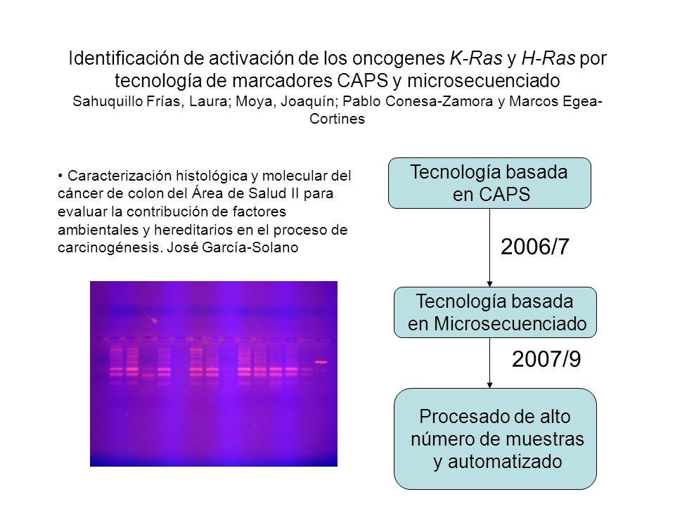 Identificación de activación de los oncogenes K-Ras y H-Ras por tecnología de marcadores CAPS y microsecuenciado Sahuquillo Frías, Laura; Moya, Joaquín; Pablo Conesa-Zamora y Marcos Egea-Cortines
