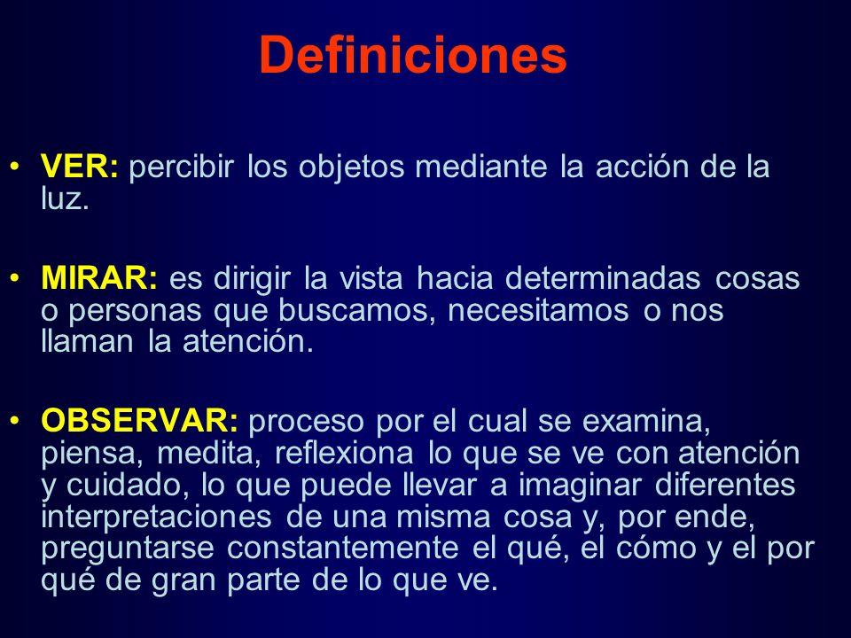 Definiciones VER: percibir los objetos mediante la acción de la luz.
