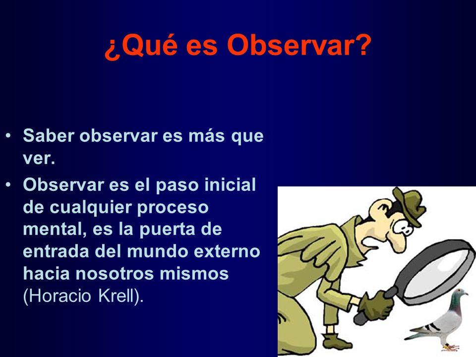 ¿Qué es Observar Saber observar es más que ver.