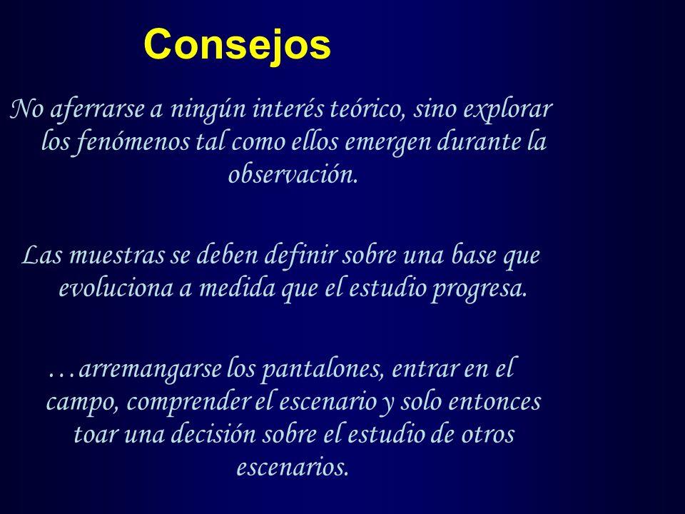 Consejos No aferrarse a ningún interés teórico, sino explorar los fenómenos tal como ellos emergen durante la observación.