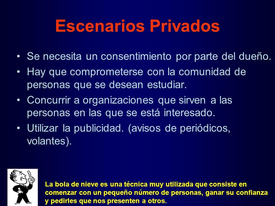 Escenarios Privados Se necesita un consentimiento por parte del dueño.