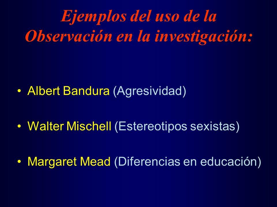 Ejemplos del uso de la Observación en la investigación: