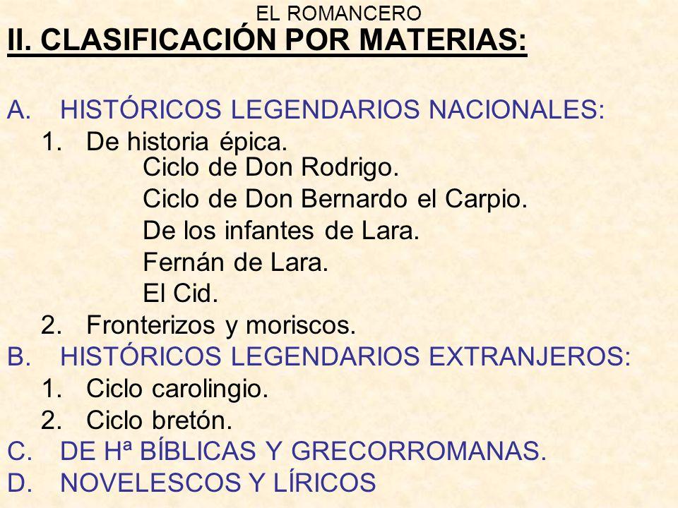 II. CLASIFICACIÓN POR MATERIAS: