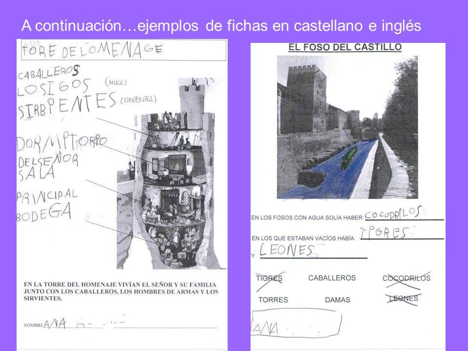 A continuación…ejemplos de fichas en castellano e inglés