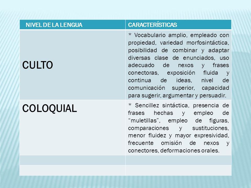 CULTO COLOQUIAL NIVEL DE LA LENGUA CARACTERÍSTICAS
