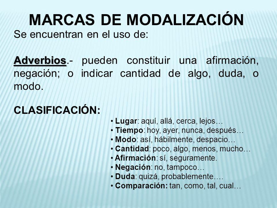 MARCAS DE MODALIZACIÓN