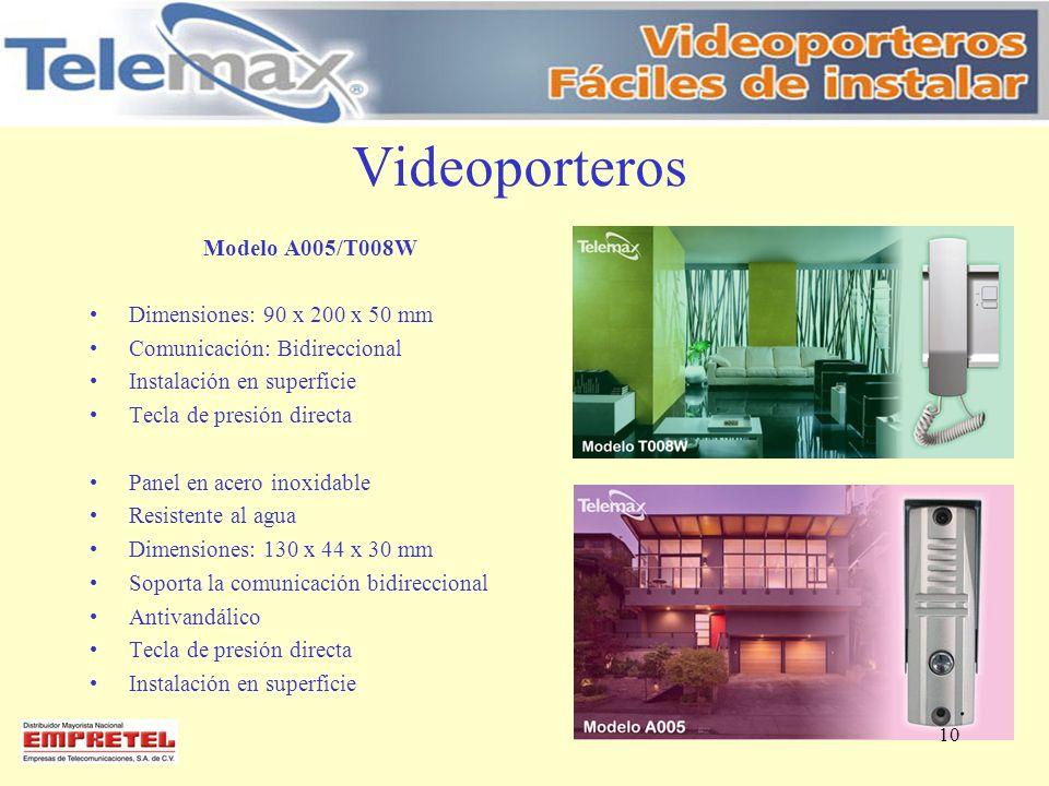 Videoporteros Modelo A005/T008W Dimensiones: 90 x 200 x 50 mm