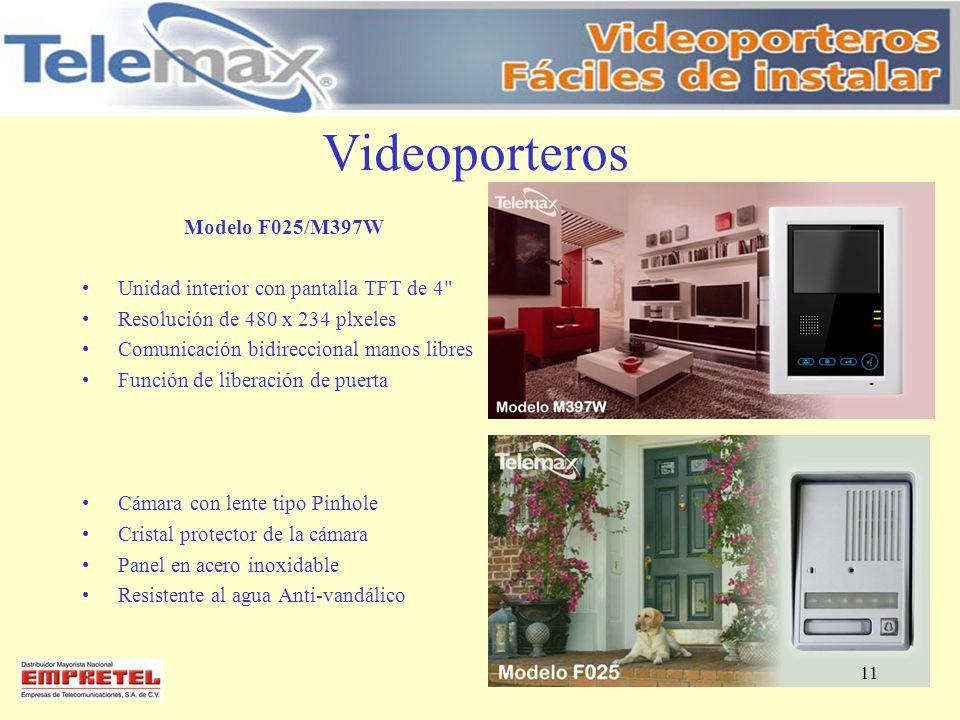 Videoporteros Modelo F025/M397W Unidad interior con pantalla TFT de 4