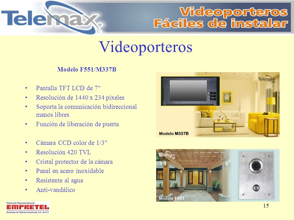 Videoporteros Modelo F551/M337B Pantalla TFT LCD de 7