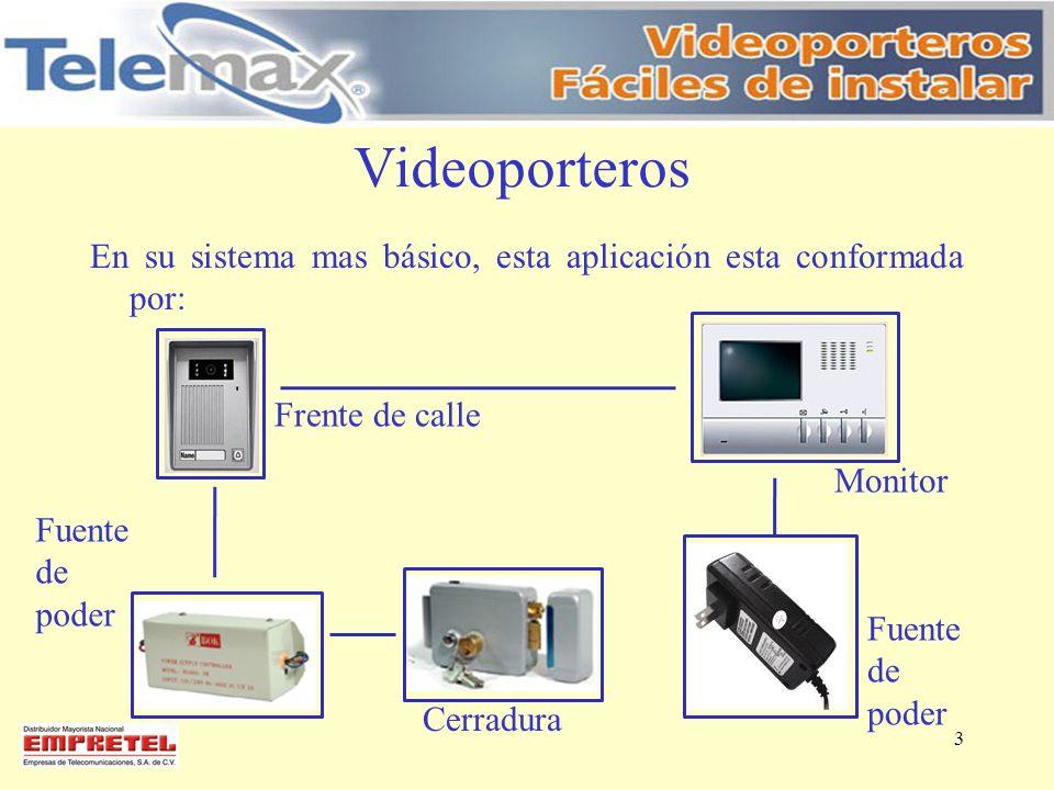Videoporteros En su sistema mas básico, esta aplicación esta conformada por: Frente de calle. Monitor.