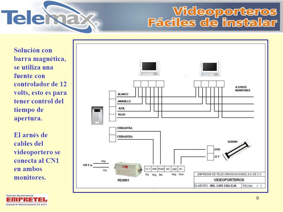 Solución con barra magnética, se utiliza una fuente con controlador de 12 volts, esto es para tener control del tiempo de apertura.