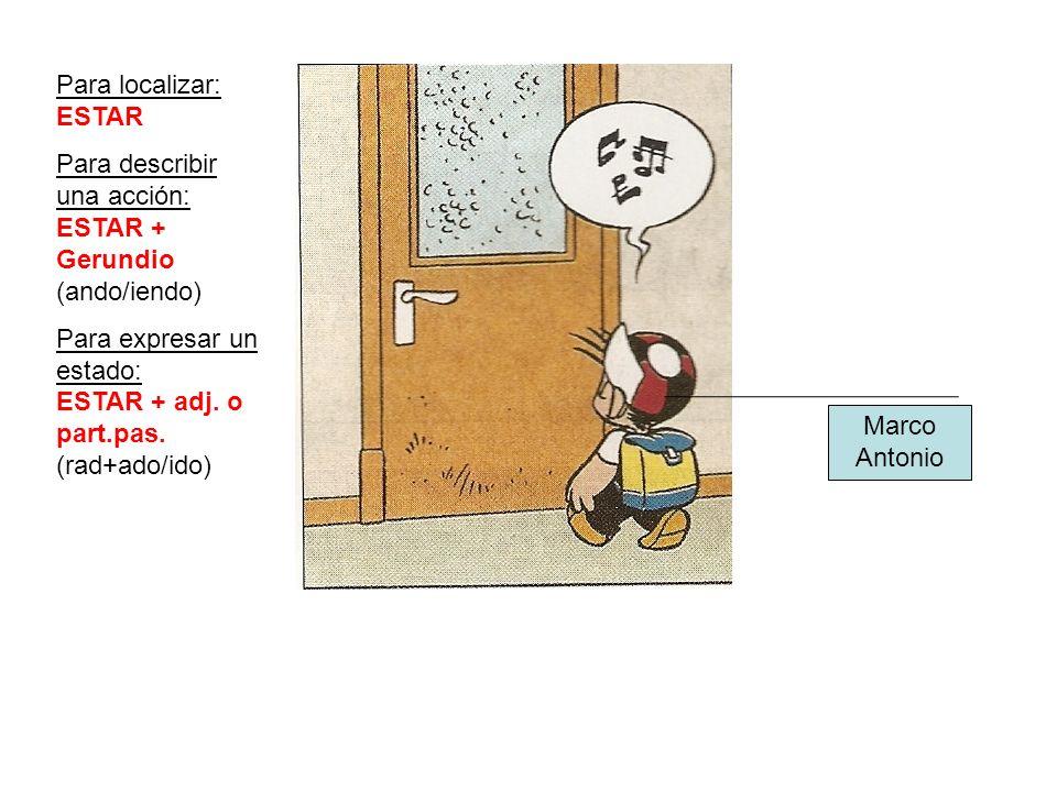 Para localizar: ESTAR Para describir una acción: ESTAR + Gerundio (ando/iendo) Para expresar un estado: ESTAR + adj. o part.pas. (rad+ado/ido)