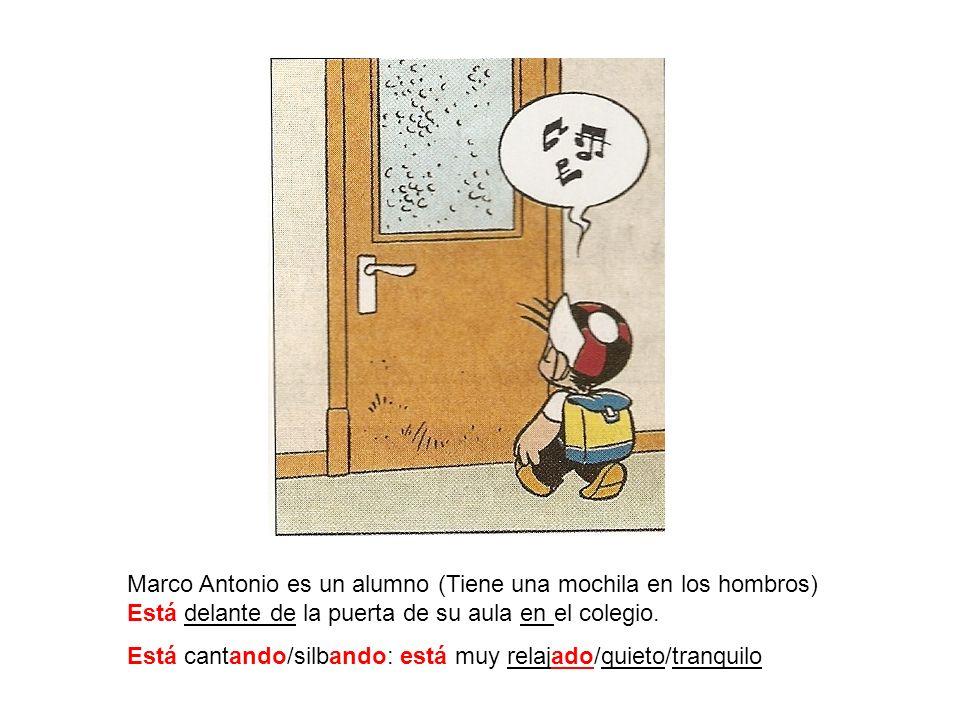 Marco Antonio es un alumno (Tiene una mochila en los hombros) Está delante de la puerta de su aula en el colegio.