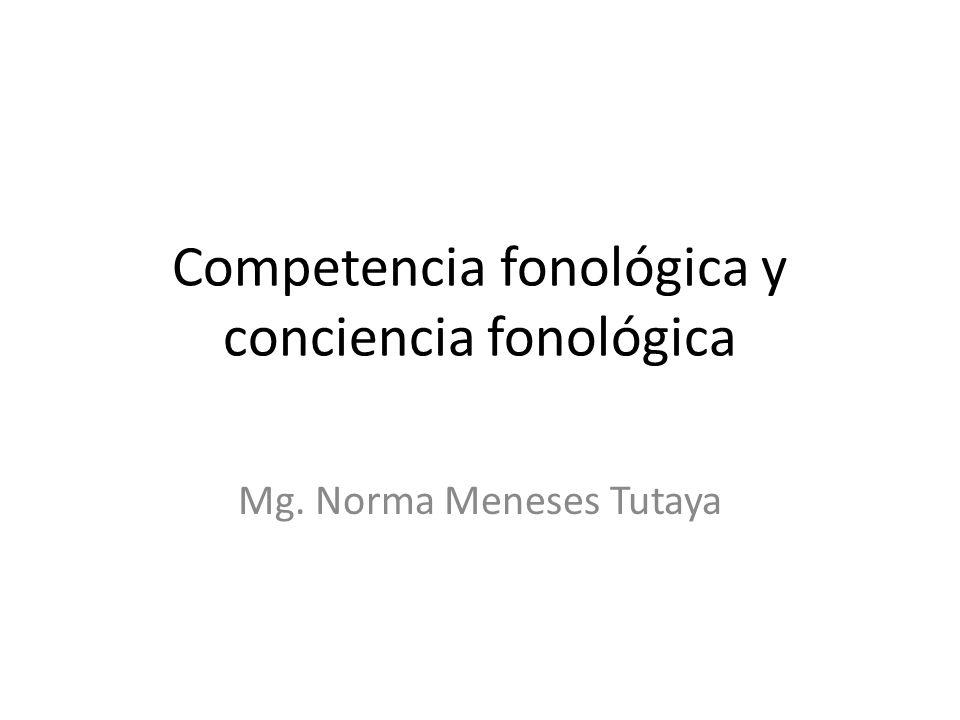 Competencia fonológica y conciencia fonológica